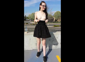 Teen euro student bares bosoms and..