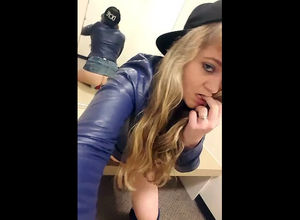 Teensy young woman drains in..