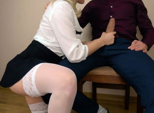 Blondie young woman in micro-skirt and..