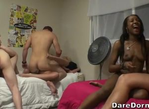 Ebony cockslut in super hot dormitory..